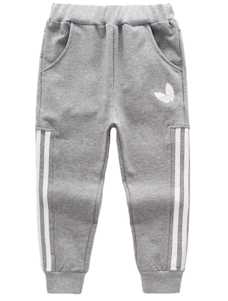 Mallimoda Boy's Casual Cotton Sweatpants Sport Elastic Waist Jogger Trousers Light Grey 3-4 Years