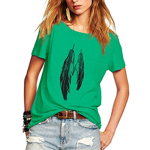 Feather T-shirt Tee Shirts - Weigou Summer Woman T Shirt Street Style Feathers Printed Short Sleeve T-Shirt Casual Loose Lady Tops Juniors Tees (XXL, Green)