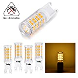 LED G9 Bulbs 3 Watt(replace 40 Watt G9 Halogen Lamps), AC 100-265 Volt 3000K 420LM Warm White Light, 360 Degree Corn Bi-pin Yuiip 5 Pack