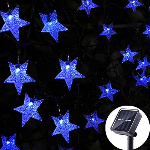 Viewpick LED Solar Star String Lights Outdoor Garden Christmas Decor Lights Blue Fairy Lights Waterproof Star Twinkle Lights for Lawn Patio Landscape Xmas Gate Yard Porch Wedding Party(30ft 50LED)