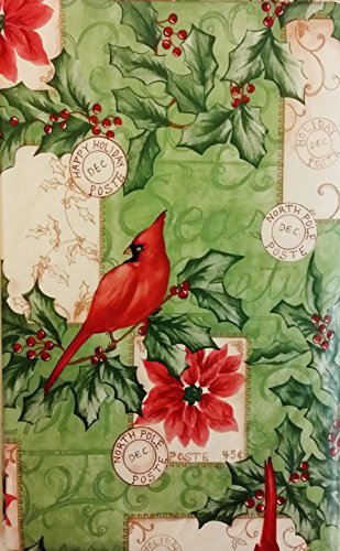Christmas Cardinals Among Poinsettias and Holly Vinyl Flannel Back Tablecloth (52