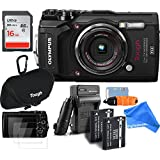 Olympus TG-5 Waterproof ALL YOU NEED RUGGED Digital Camera BUNDLE + DigtalAndMore Micro Fiber Lens Cleaning Cloth (BLACK, 16GB SD CARD)
