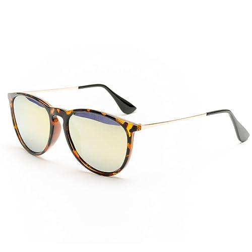 LXKMTYJ L'Art Moderne de la mode des lunettes de soleil polarisées Surface Miroir Metal Temples, lunettes de soleil jaune