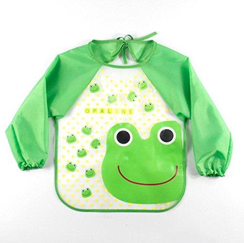 Lingstar Unisex Infant bebé Baby manga impermeable babero verde dinosaurio, Verde (Green Frog)