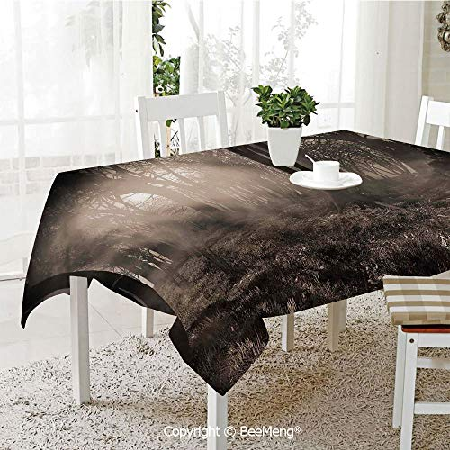 BeeMeng Large dustproof Waterproof Tablecloth,Family Table Decoration,Gothic Decor,Photo of Dark Forest Scenery with Sunbeams and Fog Vintage Nostalgic Colors Gothic Fantasy Art,Brown,70 x 104 -