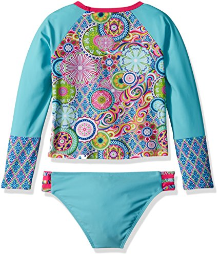 YMI Big Girls' Peace and Love Rash Guard, Multi-Colored, 10/12 by YMI (Image #2)
