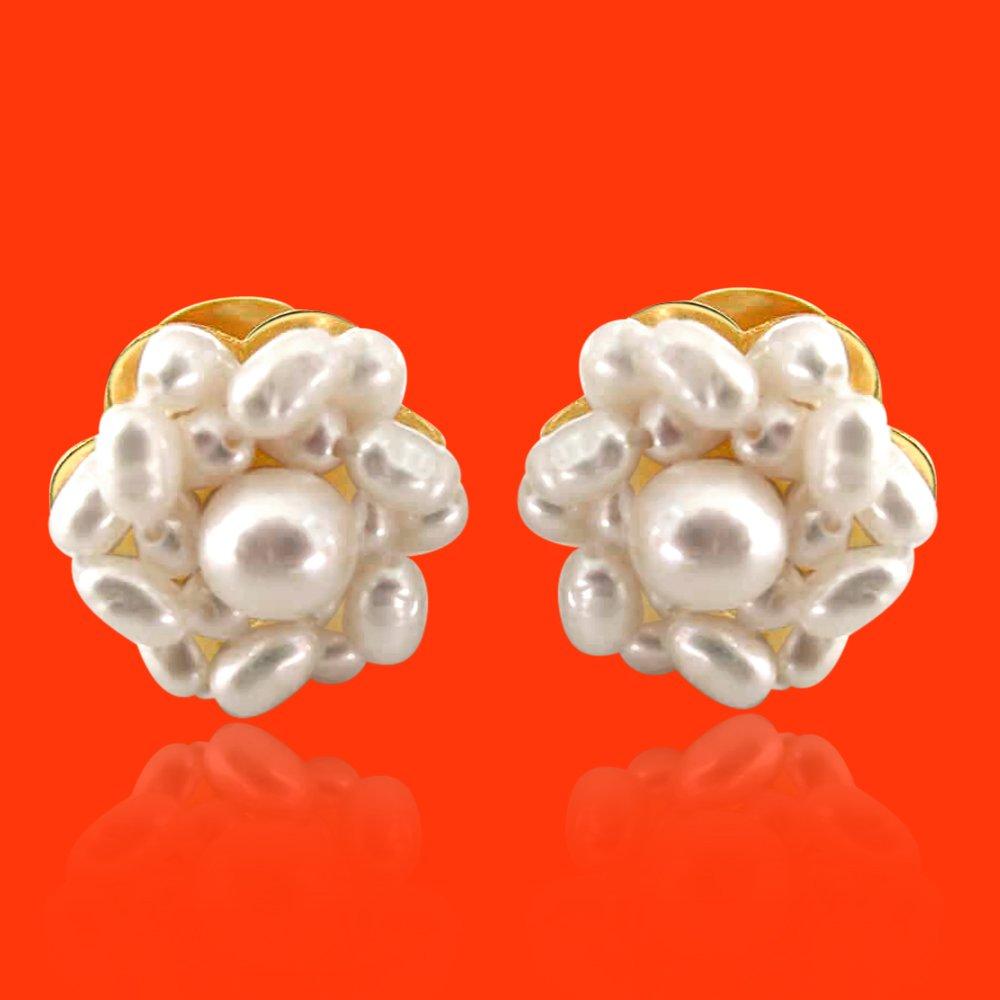 Freshwater Natural Rice /& Round Pearl /& Flower Kudajodi Earring for Women SE17