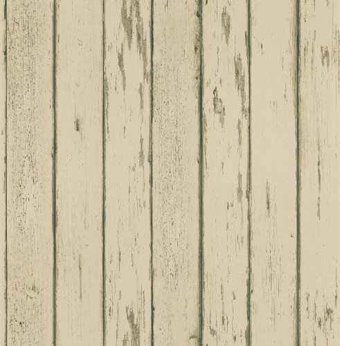 Brewster 431-7297 Northwoods Lodge Weather Plank Wallpaper, 20.5-Inch by 396-Inch, Beige (Collection Northwoods Stripe)