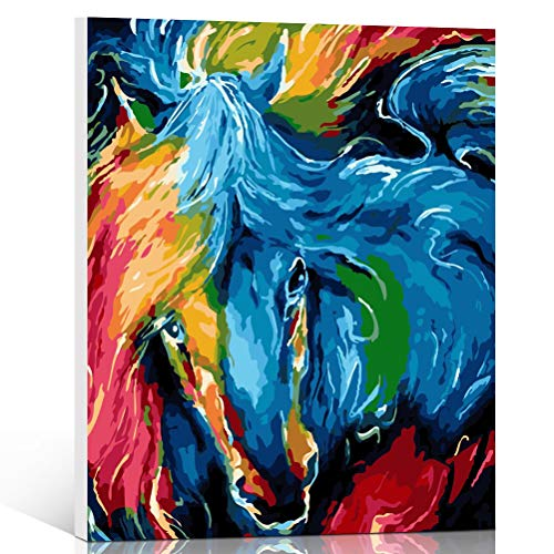 Fengtuo DIY Oil Painting Paint by Number Kit Canvas Painting Hand Colouring Decorative Picture for Design Abstract Horse 16