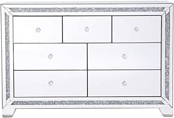 Elegant Decor 47 in. Silver Crystal Mirrored 7 Drawer Cabinet