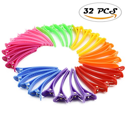 Nextnol 32 PCS Color plastic duckbill clip barrettes,DIY Accessories hair pins,Color plastic hairpin,Clips salon hair clips,Alligator clips barrettes,Hair clips for (Salon Accessories)