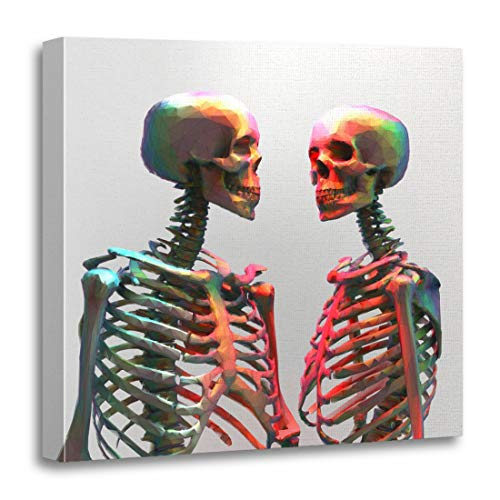 Semtomn Canvas Wall Art Print Couple of Polygonal Skeleton in Rainbow Color Wireframe Edge Artwork for Home Decor 20 x 20 Inches -