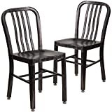 Flash Furniture 2 Pk. Black-Antique Gold Metal Indoor-Outdoor Chair