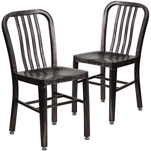 Flash Furniture 2 Pk. Black-Antique Gold Metal