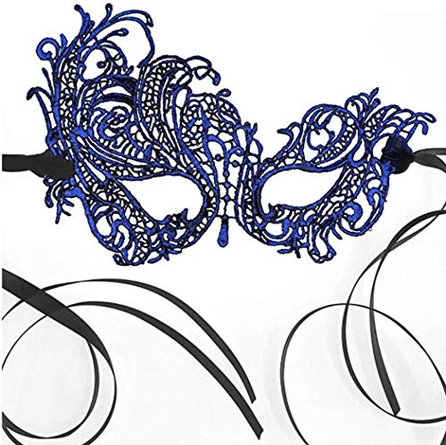 The Lace Mask Co. Stunning Elegant Lace Mask for Masquerade Prom Halloween Carnival Mask Ball (Sapphire Blue)]()