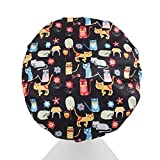 Dilly's Collections Microfiber Shower caps - Protects Your Blow Out - Seals Out Moisture In The Shower - Preserves Hair Treatment - Durable - Reusable - Premium Three Layers - Cat Design Shower Caps - Hair Cap