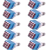 E Support 3PDT 9 Pins Box Stomp Guitar Effect Pedal Foot Switch True Bypass Metal Pack of 10