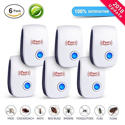 Pest control ultrasonic repellent [2018 UPGRADED]| Ultrasonic Pest Repeller, Electronic Mice Repellent, Mosquitoes, Mice, Ants, Rats, Roaches, Spiders, Bugs, Flies, Rodents, Human & Pet Safe [6 pack]