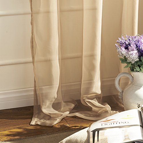 IYUEGO Country Elegant Beige Solid Eco-friendly Sheer Curtains Grommet Top With Custom Multi Size 72'' W x 96'' L (One Panel)