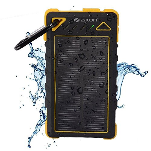 Solar Power Bank, ZiKON High Capacity Waterproof Portable 8000mAh Charger, Dual USB Solar Powered Battery Charger for iPhones, iPads, Samsung, Tablets, Cameras. Dustproof & Shockproof (Yellow)