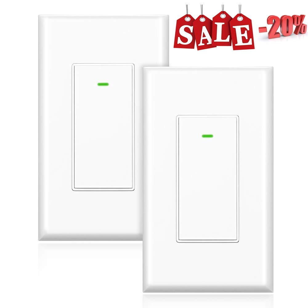 KKcool Smart Switch, Smart Light Switch, work with Alexa, Google Home, IFTTT, Wireless Remote Control, Schedule&Timing, 2.4G wifi Only, No hub Required, Neutral Wire Required, Physical Button, 2 Pack