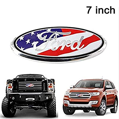 Poiuy for Front Emblem,For FORD 7 Inch Front Grille Tailgate Emblem, 3D Oval 3M Double Side Adhesive Tape Sticker Badge for Ford Escape Excursion Expedition Freestyle F-150 F-250 F350: Automotive