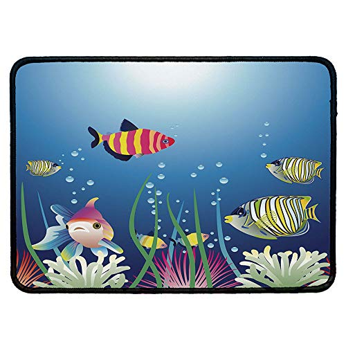 Aquarium Natural Rubber Pad,Aquarium Seascape with Colorful Tropical Fishes Bubbles Seaweed Marine Theme Decorative for Office &Hone Computers,9.84''Wx11.81''Lx0.12''H