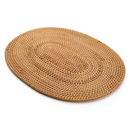 Oval Placemats Rattan Non Slip Heat Resistant Insulation Table Mats Natural, 15.7x11.8 inches
