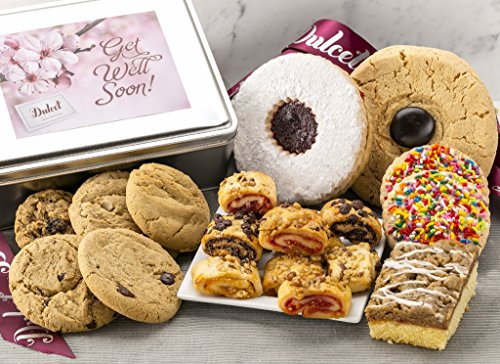 Dulcet's Get Well Speedy Recovery Gift Box Includes: Raspberry Crumb Cake, Chocolate Chip, Macadamia, Peanut Butter, and Oatmeal and Much more, The best get well gift idea!