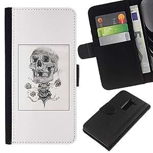 All Phone Most Case / Oferta Especial Cáscara Funda de cuero Monedero Cubierta de proteccion Caso / Wallet Case for LG G2 D800 // Skull Pencil Sketch Poster Black White