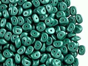 50pcs es-o Beads–Checo Presionado Perlas de Cristal Redondo 5mm con dos agujeros, polvo de alabastro, color verde oscuro