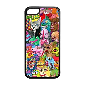 5C Phone Cases, Crazy Trippy Hard TPU Rubber Cover Case for iPhone 5C