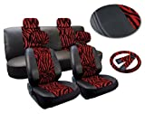 zebra car accessories interior - Red Zebra Deluxe Leatherette 13pc Full Car Seat Cover Set Premium Synthetic Leather Double Stitched - Low Back Front Bucket Seats - Rear Bench - Steering Wheel Set - 4 Headrests