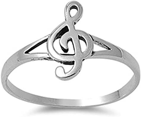 Sterling silver Clef note ring Music symbol high polished 925 silver unisex ring
