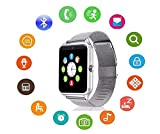 Bluetooth Smart Watch DOROIM Stainless Steel Strap, Camera, Call SMS Reminder, Sleep Monitor, Pedometer, Support SIM TF Card Android iPhone Men Women Boys Girls (Silver)