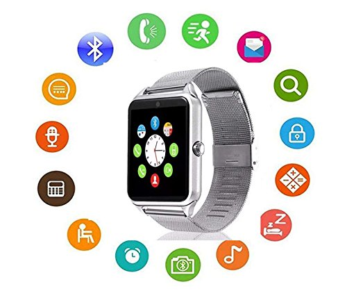 Stainless Steel Bluetooth - Bluetooth Smart Watch DOROIM Stainless Steel Strap, Camera, Call SMS Reminder, Sleep Monitor, Pedometer, Support SIM TF Card for Android iPhone Men Women Boys Girls (Silver)