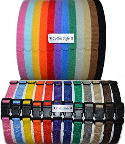 CollarSafe Deluxe Puppy ID Set - Nylon SNAP Buckle Collars & Velcro Identification Litter Bands by CollarSafe