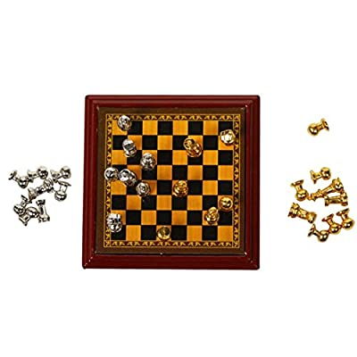 Zeroyoyo 1:12 Dollhouse Miniature Metal International Chess Set Mini Accessories