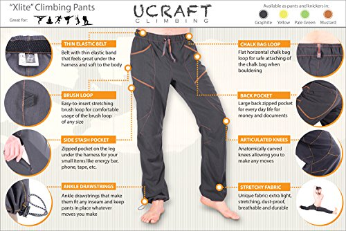 """Ucraft """"Xlite Rock Climbing, Bouldering and Yoga Pants. Lightweight, Stretching, Breathable (410 L Graphite)"""