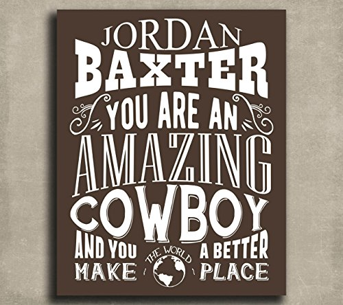 Amazing Cowboy Custom Plaque Tin Sign Gift for Cow Herder Horseback Rancher Western Saloon Typography Personalized Metal Art Print #1354 Western Tin