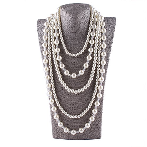 Five Strand Necklace (Aibei Fashion FauxPearl Multi Strand 5 Layers Necklace Long Choker crystal Necklace 34