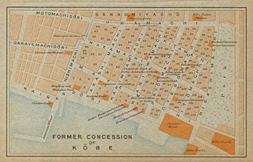 Chuo-ku, Kobe Antique City Plan. Former Concession of Kobe. Japan - 1914 - Old map - Antique map - Vintage map - Printed maps of Japan from Antiqua Print Gallery