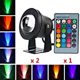 Waterproof RGB Color Changing Outdoor LED Flood Light DC12V 10W + IR Remote Control, Underwater RGB Decor Spotlight/Wall Lighting for Garden Lawn Pool Pond Rockery Fountain - Black (Pack of 2)