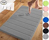 Yimobra Memory Foam Bath Mat Large Size 31.5 by 19.8 Inch,Maximum Absorbent,Soft,Comfortable,Non-Slip,Easier to Dry for Bathroom,Gray (Presented Wall Hooks 3 Pack)