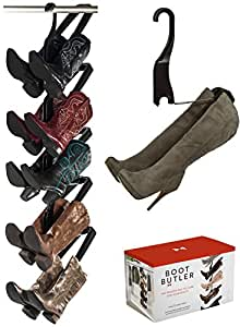 Boot Storage Rack by Boot Butler – As Seen On Rachael Ray – Clean Up Your Closet Floor with Hanging Boot Storage – Easy to Assemble & Built to Last – 5-Pair Hanger Organizer & Shaper/Tree