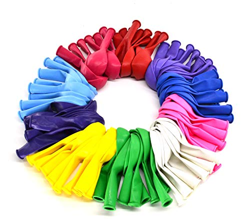 12 Inch Helium Quality Balloons 100 pack ,Party Rainbow Balloons Made With Strong Latex,For rainbow party supplies,Birthday Balloon Arch Supplies, Decoration Accessory 10 Assorted colored balloons latex balloons helium qualityoons
