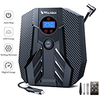 Wolfbox Portable Air Compressor for Car, Bicycle, Motorcycle, Basketball (Transformer Black)