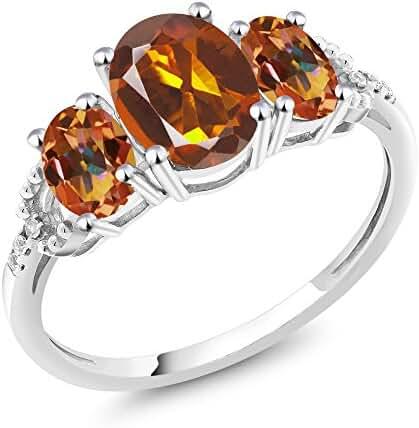 10K White Gold 2.15 Ct Orange Red Madeira Citrine and Mystic Topaz 3-Stone Ring