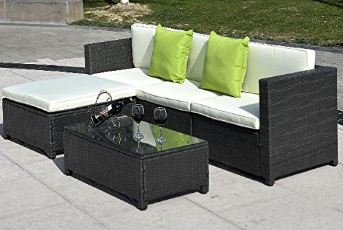 Model No. AWE-CTWY-5PC-SF032 – Wicker Rattan Patio Sofa Furniture Cushion Outdoor Chaise Lounge Set Adjustable Garden Cushioned Sun Lounger 5 pc Black Review