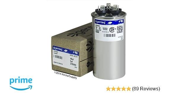 40//5Uf 370V 6/% Case Genteq C3405R 97F9849 Capacitor Motor Run